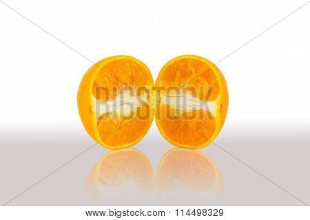 Slice orange in half with reflexive shade
