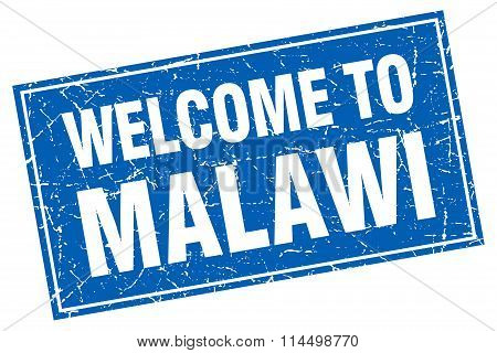 Malawi Blue Square Grunge Welcome To Stamp