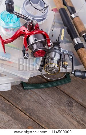 Fishing Tackles And Lures, Baits In Storage Boxes
