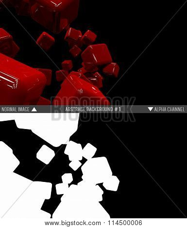Abstract raster background of red cubes with alpha channel.