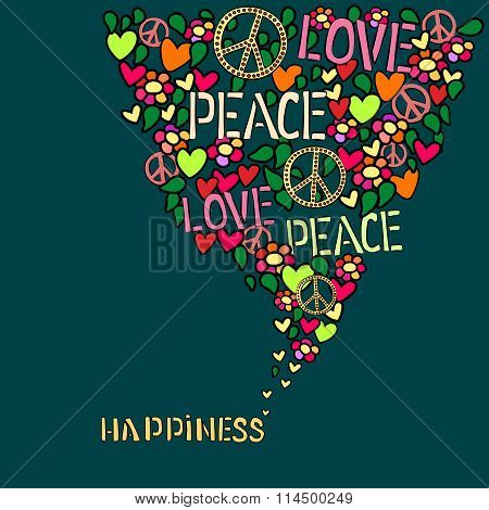 Text happiness. Love, peace and pacifism symbol in colorfull collage