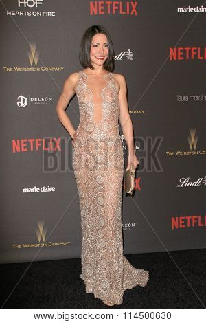 BEVERLY HILLS, CA - JAN. 10: Emmanuelle Vaugier arrives at the Weinstein Company and Netflix 2016 Golden Globes After Party on Sunday, Jan. 10, 2016 at the Beverly Hilton Hotel in Beverly Hills, CA.
