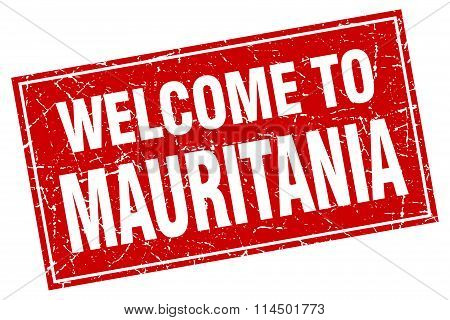 Mauritania Red Square Grunge Welcome To Stamp