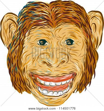 Drawing sketch style illustration of chimpanzee head smiling facing front set on isolated white background done in retro style.