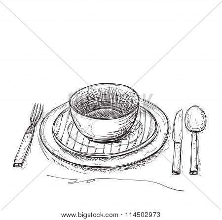 Hand drawn fork, knife and plate