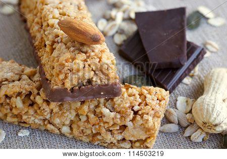 Granola Bars. Closeup