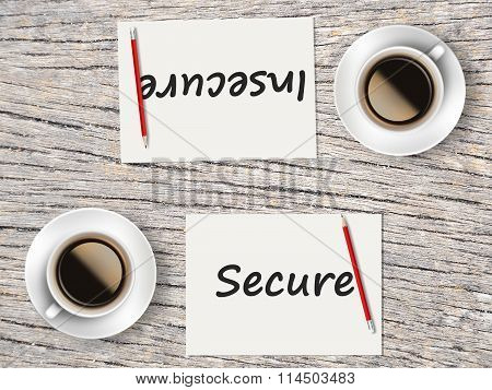 Business Concept : Comparison Between Secure And Insecure