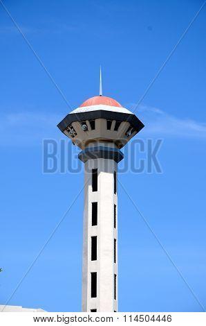 Minaret of Malaysia Putra University Mosque or Masjid UPM at Serdang, Selangor, Malaysia
