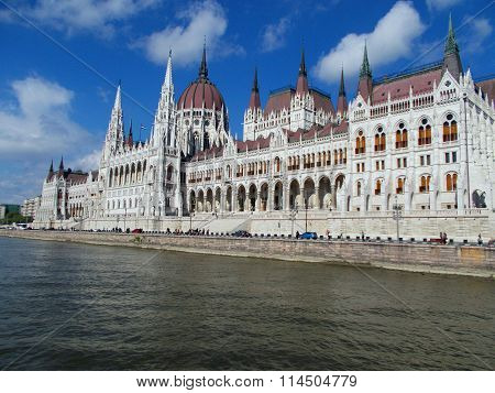The Parliament , taken from the Danube in Budapest ( Hungary )
