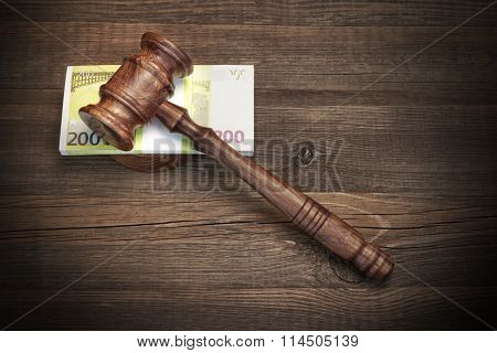 Concept For Law, Corruption, Bankruptcy, Bail, Crime, Fraud, Auction Bidding.