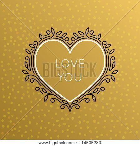Vector Heart Monogram Decorative Frame. Vintage Linear Flourishes Elegant Ornaments.