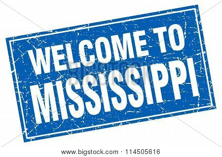 Mississippi Blue Square Grunge Welcome To Stamp