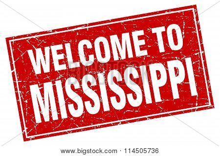 Mississippi Red Square Grunge Welcome To Stamp