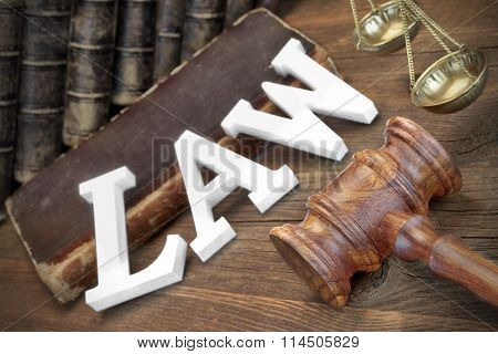 Lawsuit Concept With Sign Law And Judges Gavel