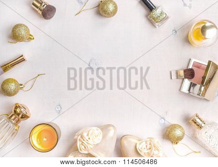 Holiday Feminine Cosmetic Background