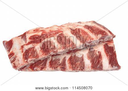 Beef Meat. Raw Black Angus Marbled Beef Ribs Isolated
