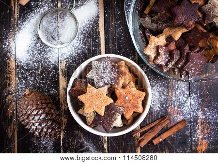 Christmas Ginger Cookies On Plate