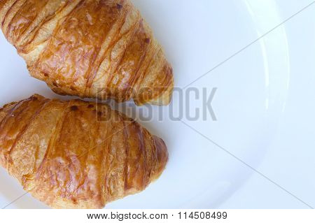 French Croissant On A White Plate