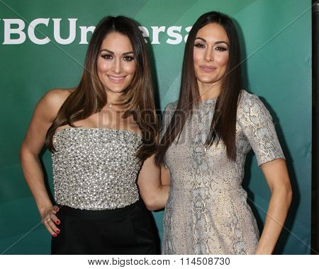 LOS ANGELES - JAN 14:  Nikki Bella, Brie Bella at the NBCUniversal Cable TCA Press Day Winter 2016 at the Langham Huntington Hotel on January 14, 2016 in Pasadena, CA