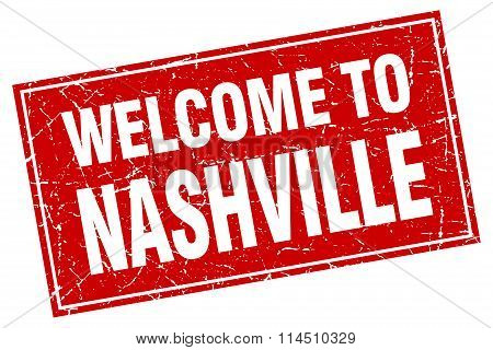 Nashville Red Square Grunge Welcome To Stamp