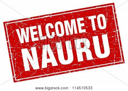 Nauru Red Square Grunge Welcome To Stamp