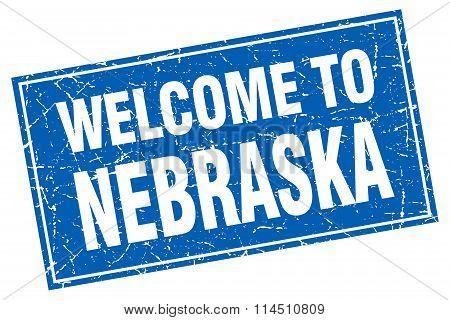 Nebraska Blue Square Grunge Welcome To Stamp