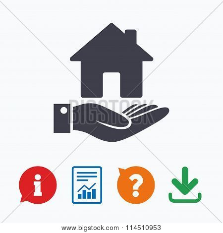 Home and hand sign. Palm holds house symbol.