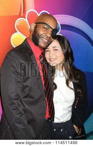 LOS ANGELES - JAN 13:  JLouis Mills, Maya Erskine at the NBCUniversal TCA Press Day Winter 2016 at the Langham Huntington Hotel on January 13, 2016 in Pasadena, CA