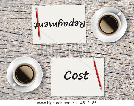 Business Concept : Comparison Between Cost And Repayment