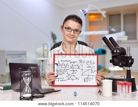 Woman Holding Clipboard With Mathematic Symbol