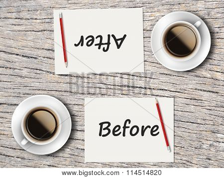 Business Concept : Comparison Between Before And After