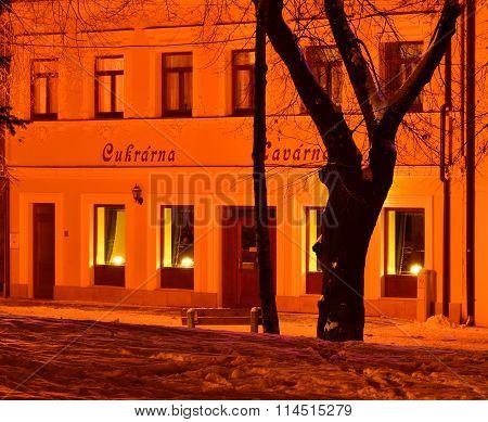 Dreamy lighting in a winter night town.