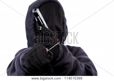 The armed attacker, robber