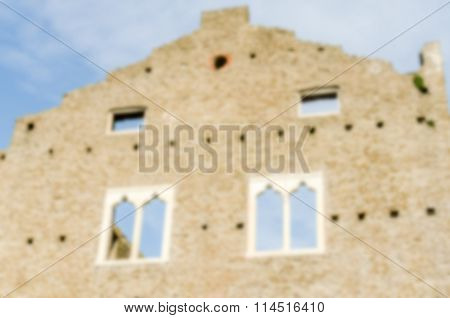 Defocused Background Of An Ancient Building In Rome, Italy