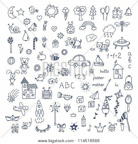 Set Of Hand Drawn Cute Doodles. Doodle Children Drawing. Hand Drawn Set Of Drawings In Child Style