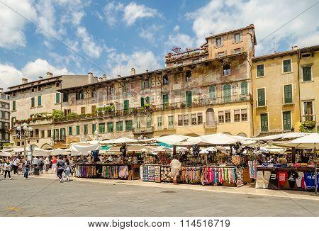 Piazza Delle Erbe Aka Market's Square, Verona, Italy