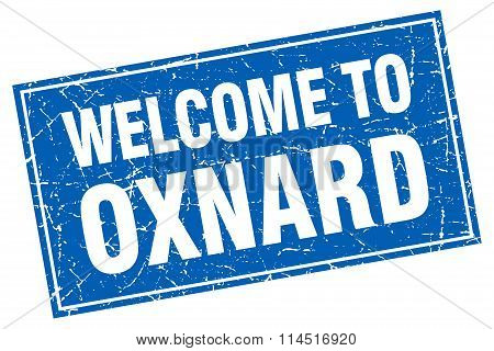 Oxnard blue square grunge welcome to stamp