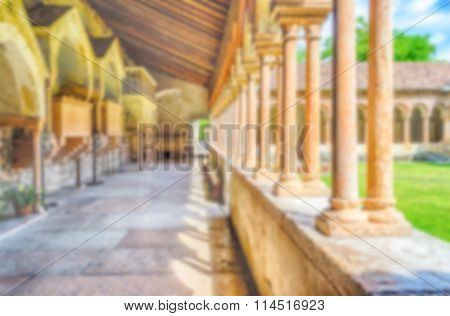 Defocused Background With Cloister Of San Zeno Cathedral In Verona