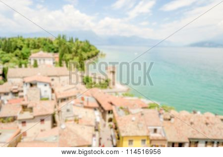 Defocused Background, Aerial View Of Sirmione From The Castle, Italy