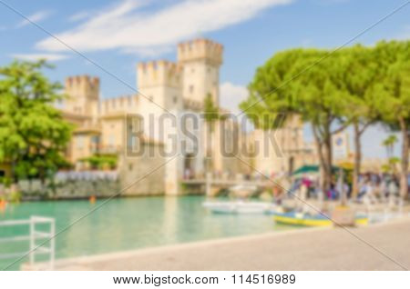 Defocused Background Of Scaliger Castle In Sirmione, Italy