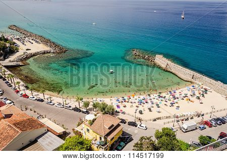 Panoramic Bird-view Of Pizzo Calabro Coastline