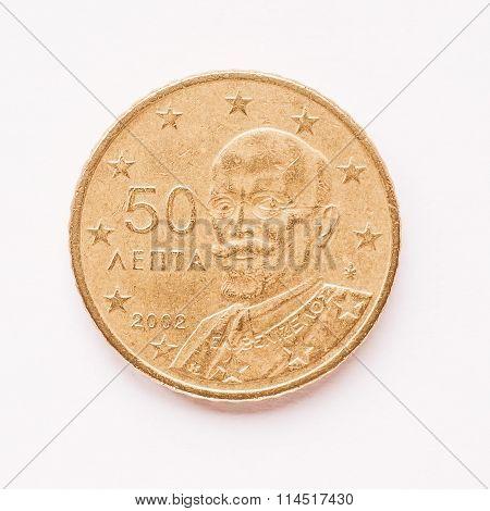 Greek 50 Cent Coin Vintage
