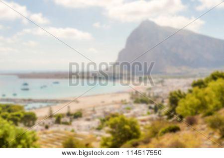 Defocused Background.with Panoramic View Of San Vito Lo Capo, Sicily