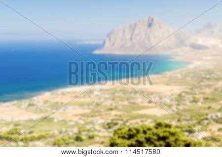 Defocused Background With Panoramic View Over Sicilian Coastline From Erice