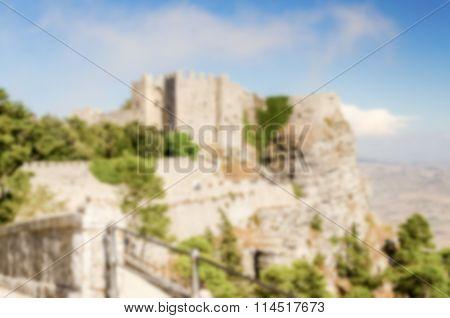 Defocused Background With View Over Venus Castle In Erice, Sicily