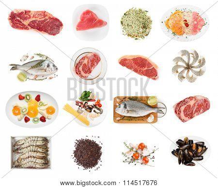 Set of raw foods isolated on white background