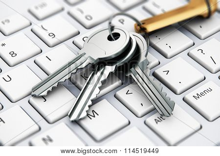 Security concept: keys on laptop keyboard