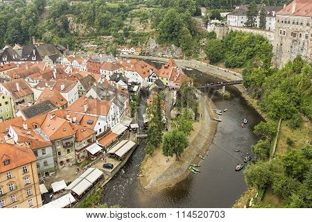 Cesky Krumlov, Czech Republic, Europe. Aerial View.
