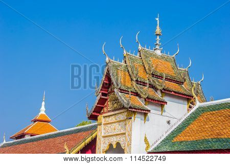 The roof gable of temple in Lamphun Province Thailand