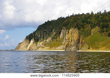 Cape Stolbchaty on island Kunashir
